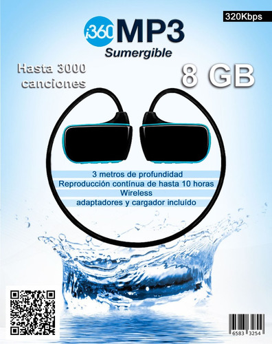mp3 sumergible 8gb usb waterproof player envios microcentro!