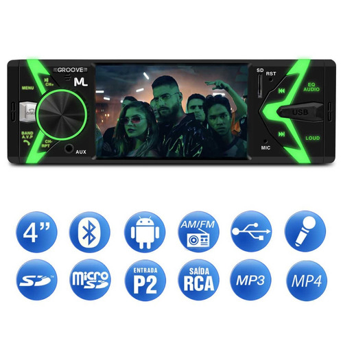 mp5 player multilaser groove p3341 4 pol 1 din bluetooth