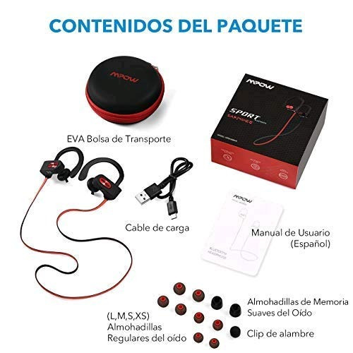 mpow bluetooth auriculares, ipx7 impermeable in-ear orejas,