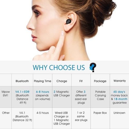 mpow em1 bluetooth earpiece, v4.1 wireless headphones, 6-hr
