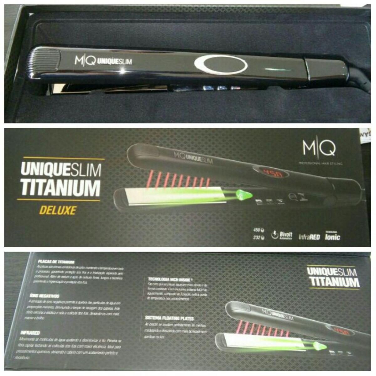 f2df648c8 Mq Professional Prancha Unique Titanium Deluxe Bivolt - R$ 450,00 em ...
