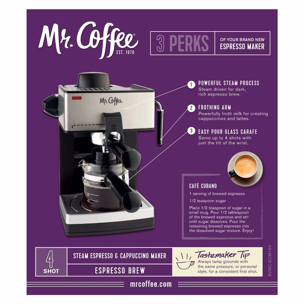 Mr. Coffee Cafetera 4 Tazas Espresso Con Espumador
