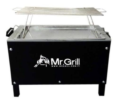 mr. grill - caja china estandar black + mandil + carbon