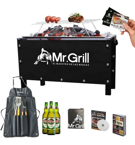 mr. grill - caja china mediana sr. black+accesorios