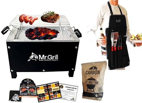 mr. grill - caja china mini + mandil + carbon