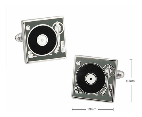 mrcuff turntable record player dj par de gemelos en una c
