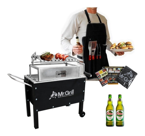 mr.grill-caja china mediana jr. black mixta + accesorios