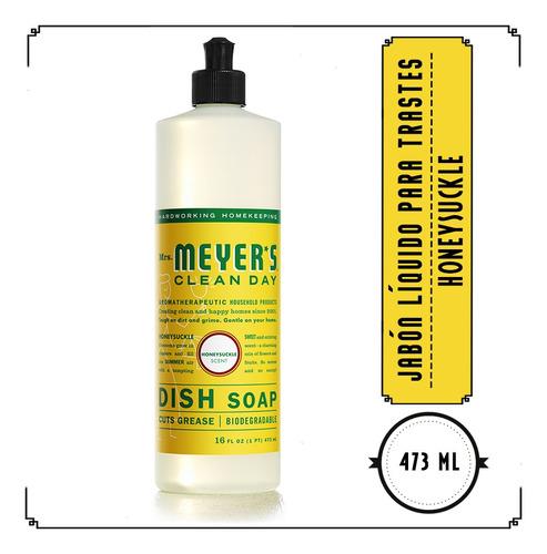 mrs. meyer's, jabón líquido para trastes, honeysuckle, 473ml