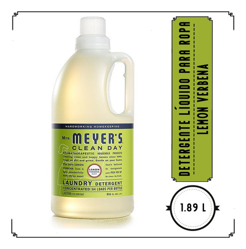 mrs.meyer's clean day detergente líquido,lemon verbena,1.89l
