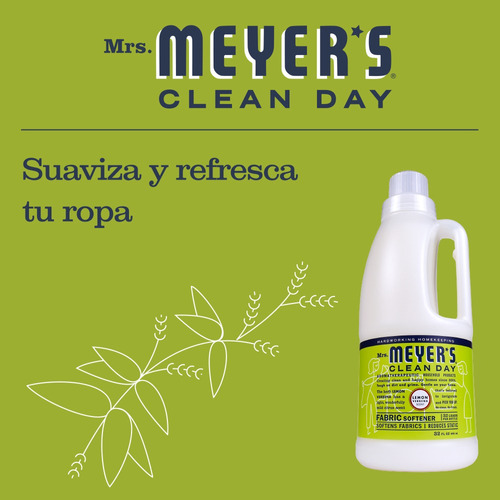 mrs.meyer's clean day suavizante líquido,lemon verbena,946ml