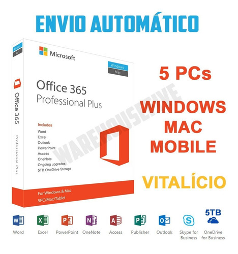 ms office 365 privado licença + 5tb de armazenamento