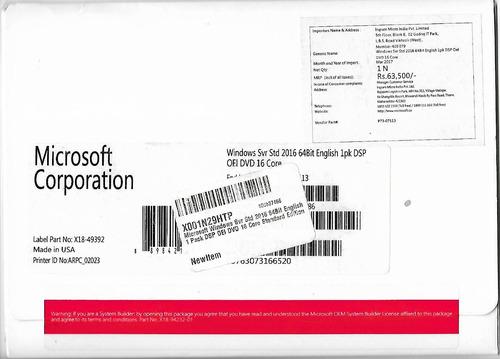 ms windows server 2016 - 64b 16core se original vendo cambio