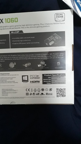 msi nvidia geforce gtx 1060 6gb ddr5 dual fans oc edition