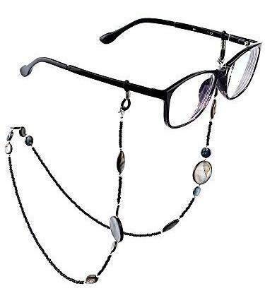 mtlee 2 piezas concha de vidrio con cuentas gafas correas ga