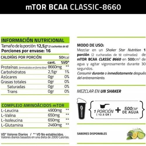 mtor bcaa + glutamina star nutrition 200 grs aminoacido