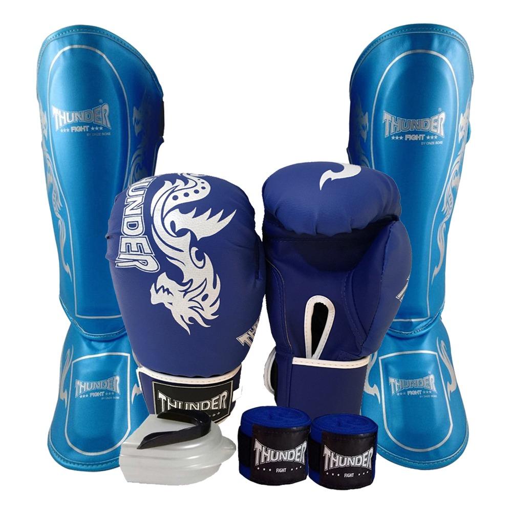 43765f134 Kit Masculino Muay Thai - Luva Bandagem Bucal Caneleira 10oz - R ...