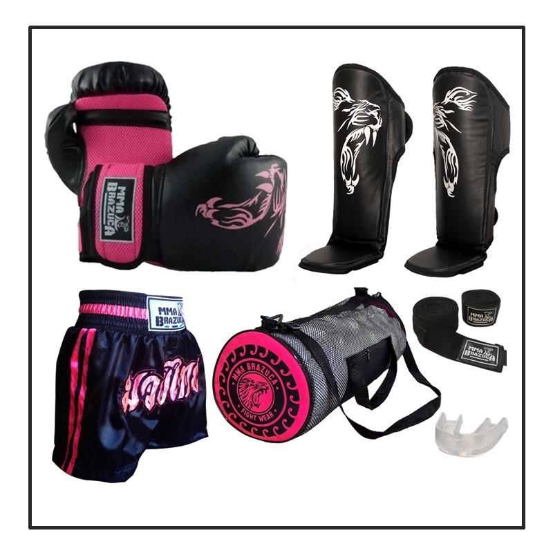 a2af7ff5f Kit Muay Thai Luva Caneleira Shorts Bolsa Bandagem Bucal Fem - R ...