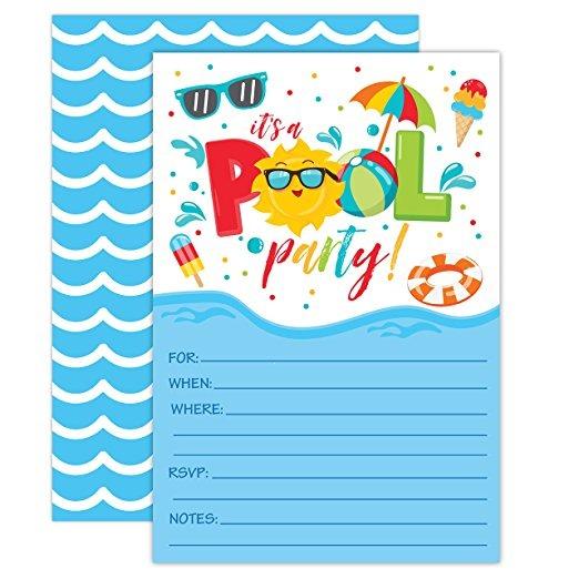 Muchacho de la piscina fiesta de cumplea os invitaciones pi 1 en mercado libre - Cumpleanos en piscina ...