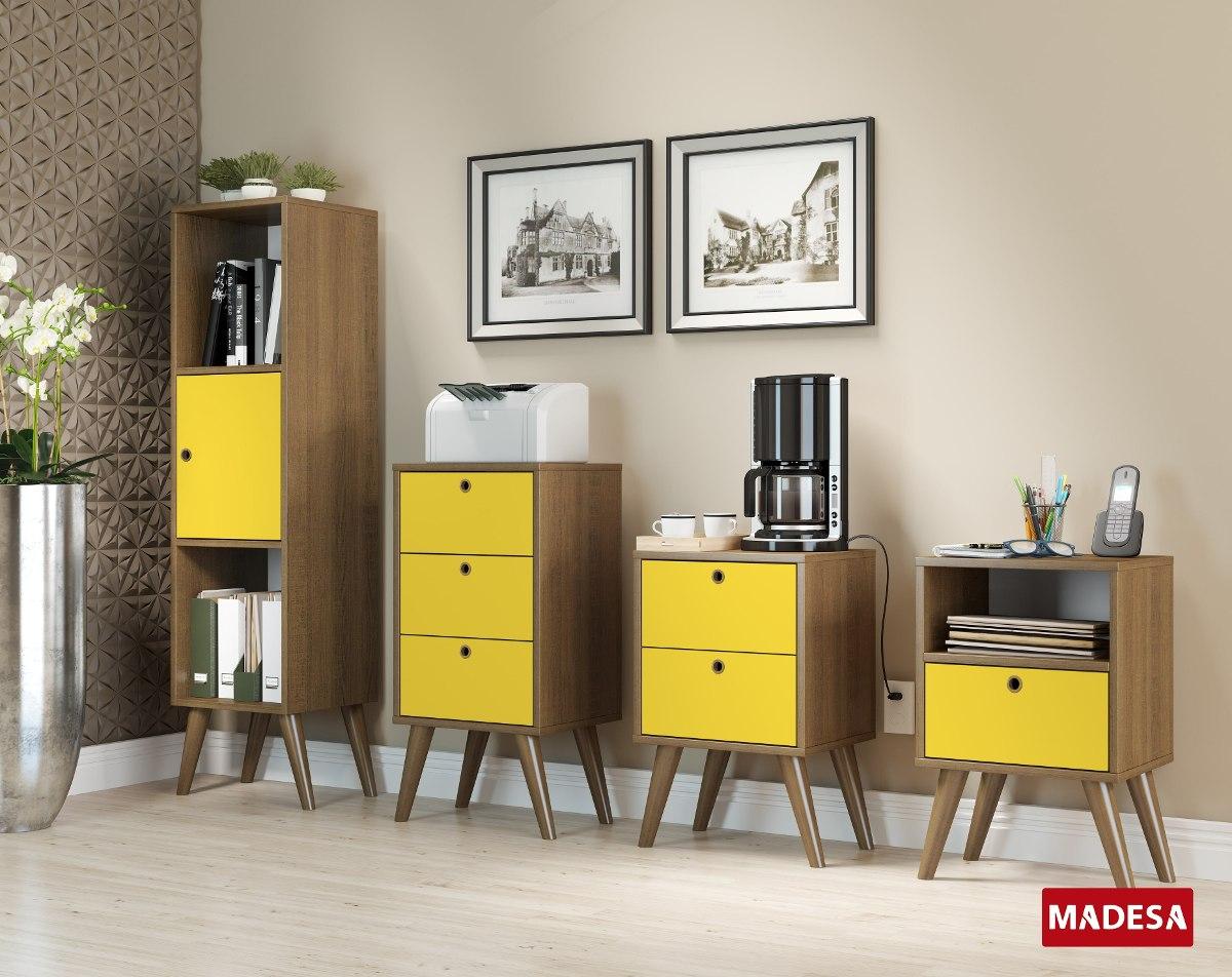 Mueble 3 Cajones Amarillo C Patas Rustic Cer Micas Castro