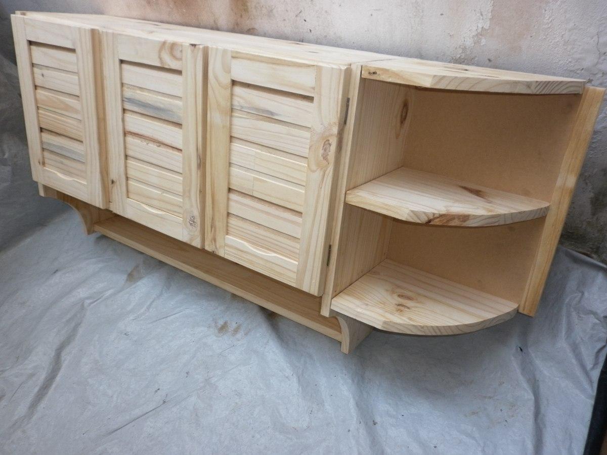 Mueble Aereo De Cocina De Madera Maciza 4ptas