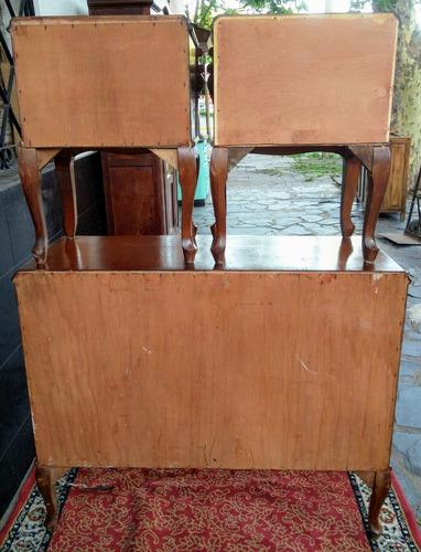 mueble antiguo inglés reina ana - cómoda y mesita luz- rgbiz