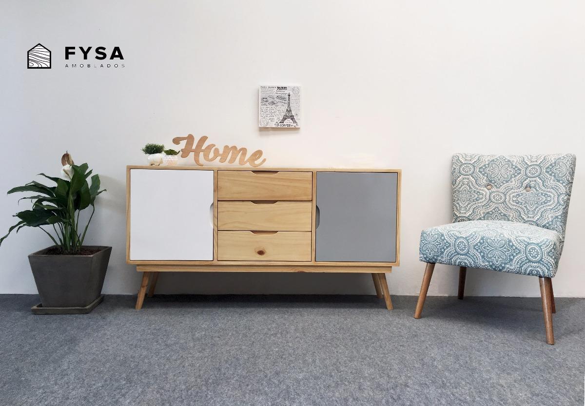 Mueble Aparador Vitrina Nordico Para Tv Sala Comedor Natural