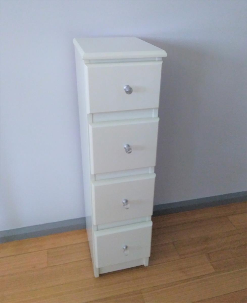 Mueble Auxiliar Bano 4 Cajones Laqueado Blanco 20x27x79 Alto 950