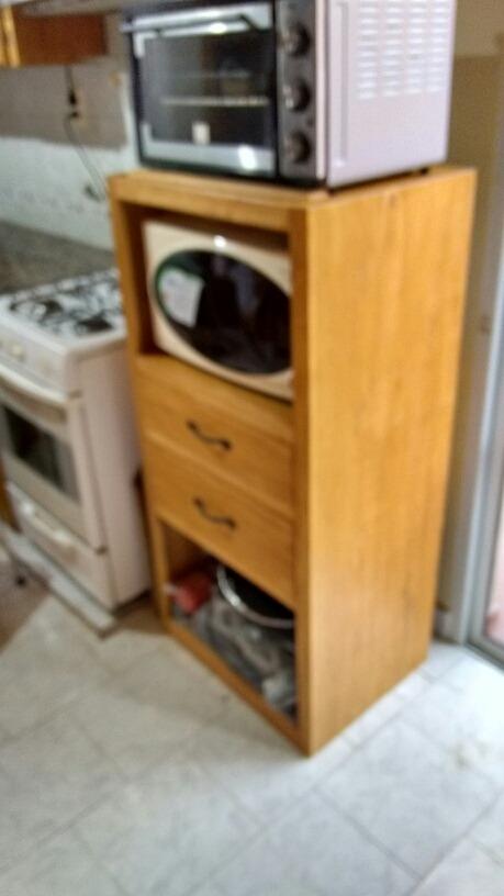 Mueble Auxiliar Para Cocina Color Nogal Madera De Pino - $ 4.500,00 ...