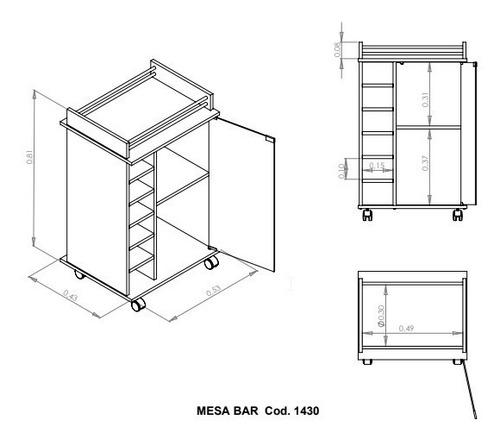 mueble bajo con puerta vidrio y bodega para vinos - bar movil portatil - mesa arrime - 1432