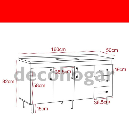 mueble bajo mesada cocina 1.60mts con bacha blanco mosconi