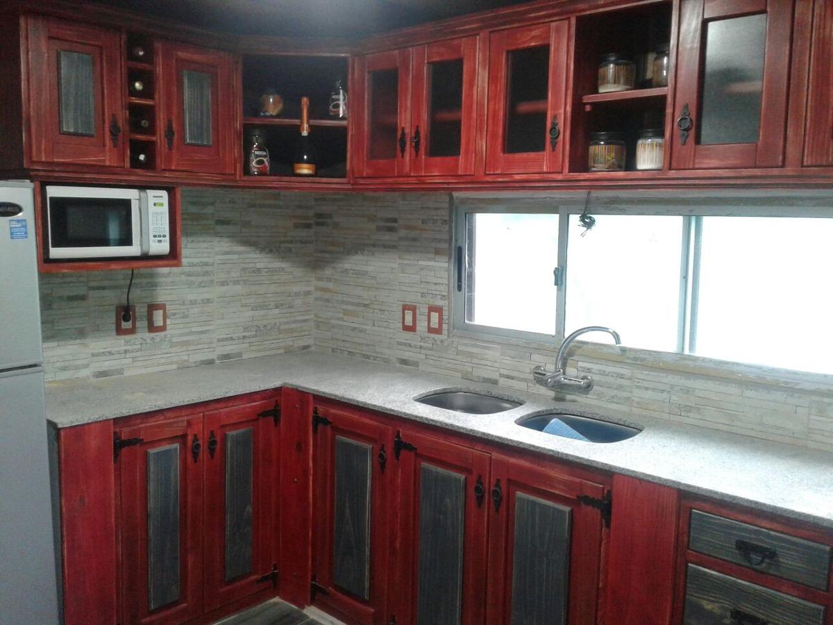 Mueble bajo mesada para cocina o barbacoa en madera for Mesada de madera para cocina