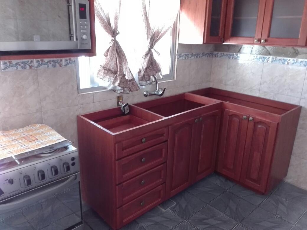 Mueble bajo mesada para cocina o barbacoa en madera for Mueble pared cocina