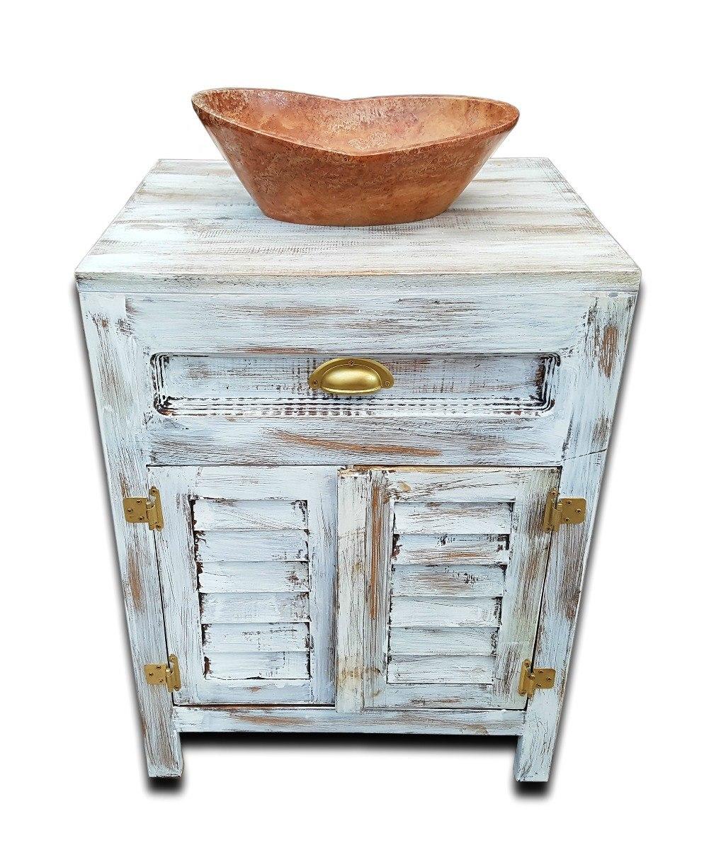 Mueble ba o incluido lavabo ovalin vintage rustico blanco for Mueble bano rustico blanco