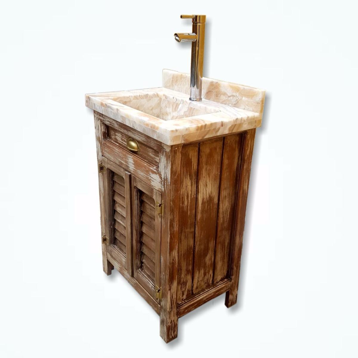 Mueble ba o lavabo incluido rustico vintage m rmol onix for Muebles vintage mexico