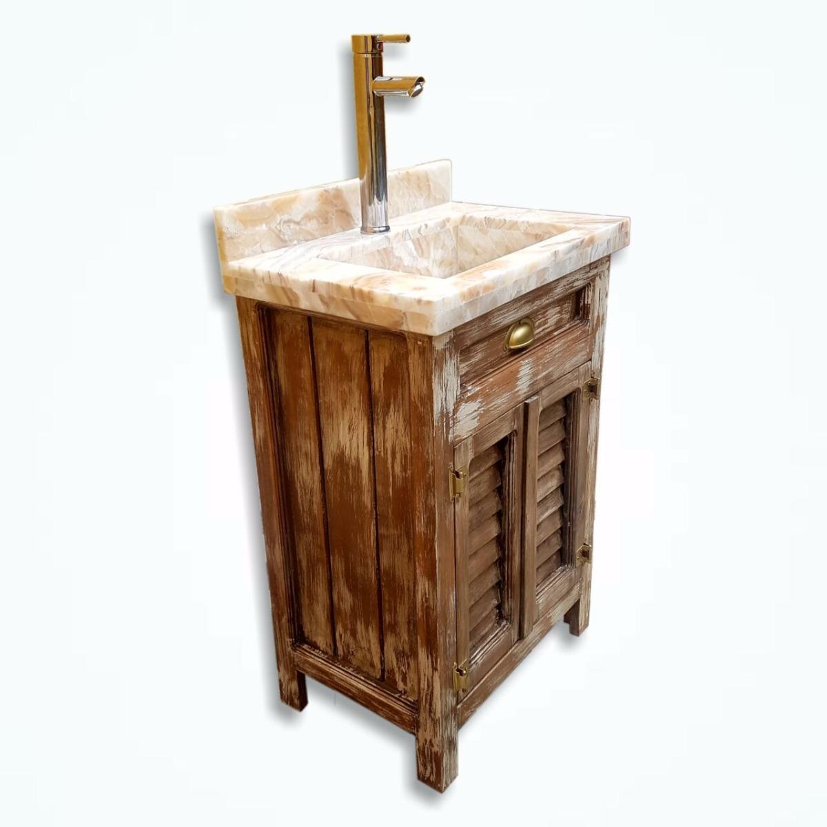 Mueble ba o lavabo incluido rustico vintage m rmol onix 5 en mercado libre - Mueble bano vintage ...