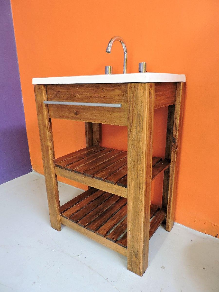 Mueble Baño Madera   Mueble Organizador De Bano Madera Maciza Mimbre Unico