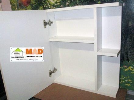 Mueble Ba O Melamina Blanco Con Espejo Puerta Repisas S