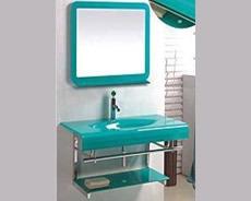 Mueble ba o mesada vidrio verde celeste espejo estante for Estantes vidrio bano