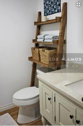 mueble baño ,organizador de madera, estanteria. los alamos