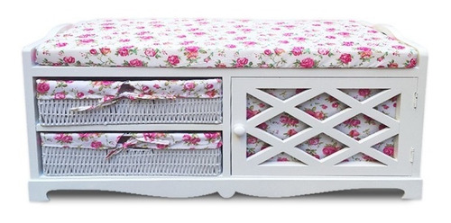 mueble banqueta blanca con tela floreada línea madera ratán