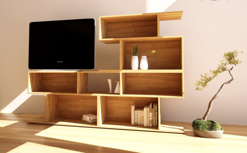 mueble biblioteca para tv led  rack lcd living o dormitorio