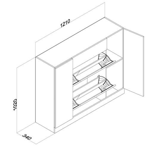 mueble botinero con cajón para 12 pares de zapatos wengue