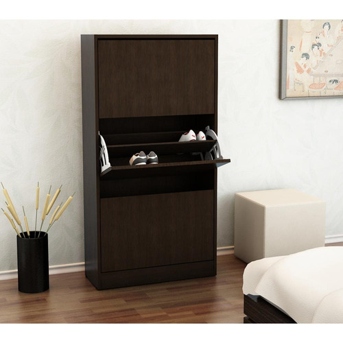 mueble botinero para 18 pares de zapatos color wengue