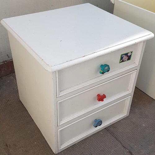 mueble cajonera y baulera madera blanca 3 cajones cama deco