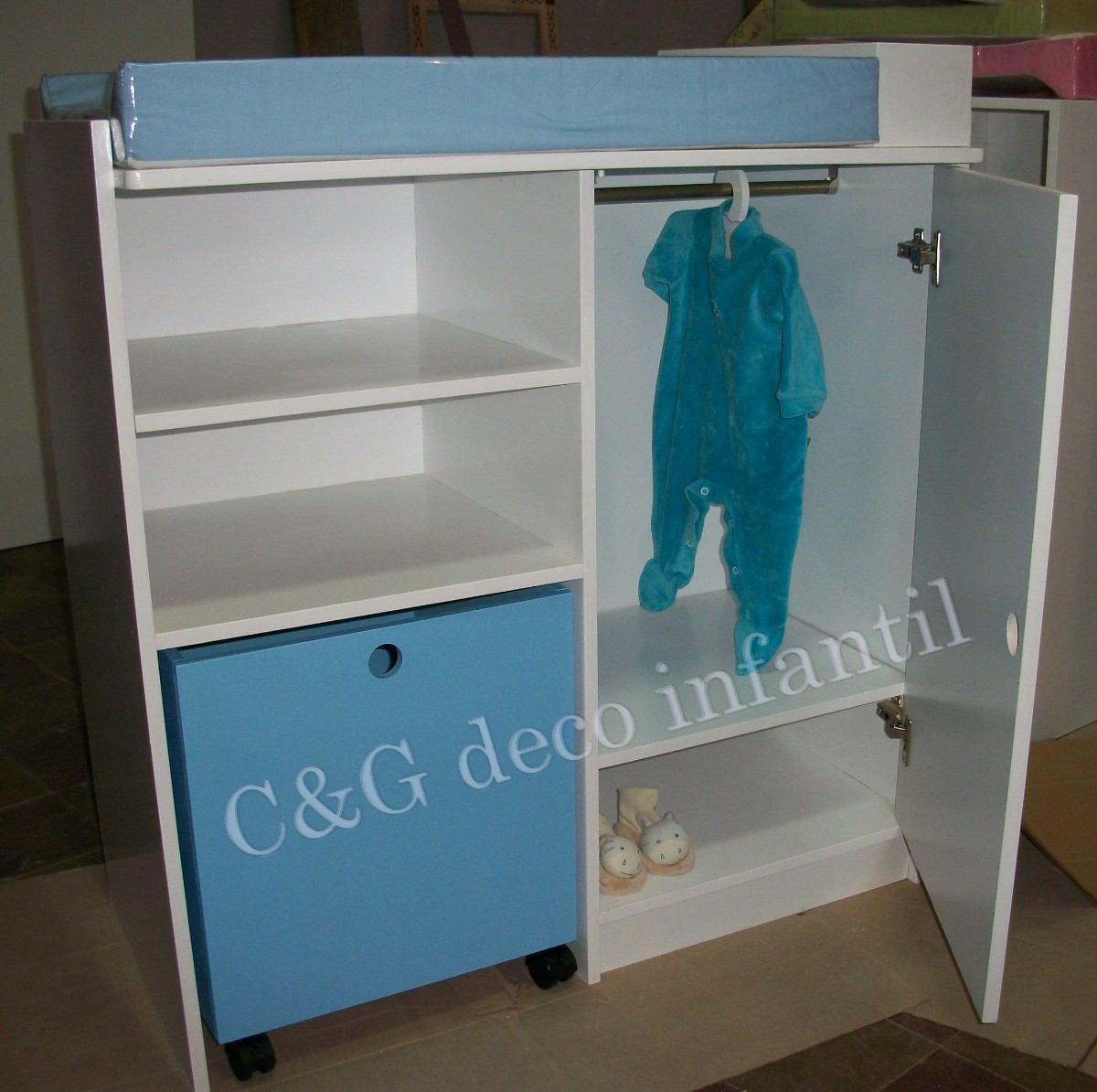 Mueble Cambiadorp/bebes Con Cubo Juguetero Y Ropero Infantil ...