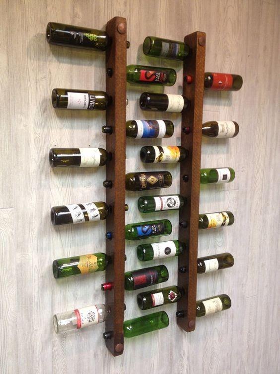Mueble Cava De Madera Para Pared 2u Porta Vino Nor