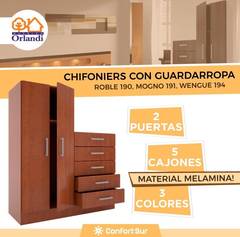 Mueble Chifonier 2 Puertas 5 Cajones Con Guardaropa Orlandi ...