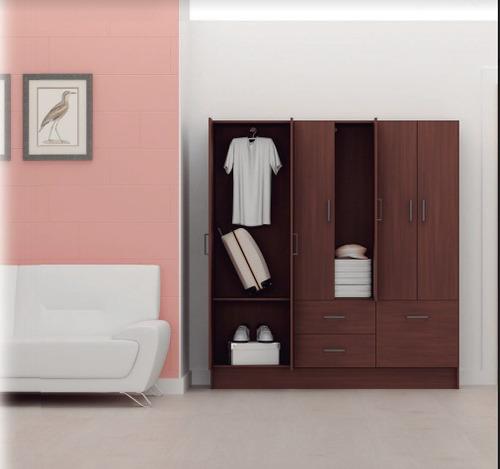 mueble closet 6 puertas 2 cajones y zapatera roble - iken