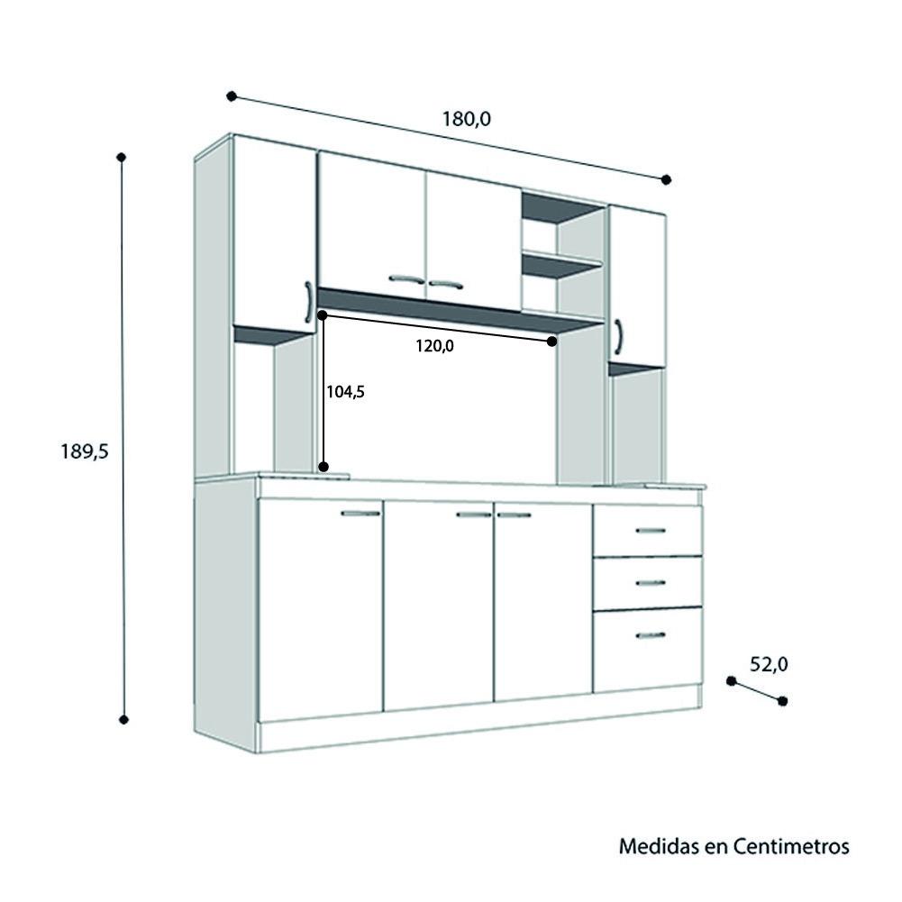 Mueble Cocina 190x180cm Kit Arco Bajomesada Alacena Blanco - $ 4.524 ...