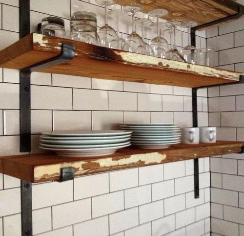 Mueble de cocina aereo industrial hierro y madera pallets for Mueble aereo cocina uruguay